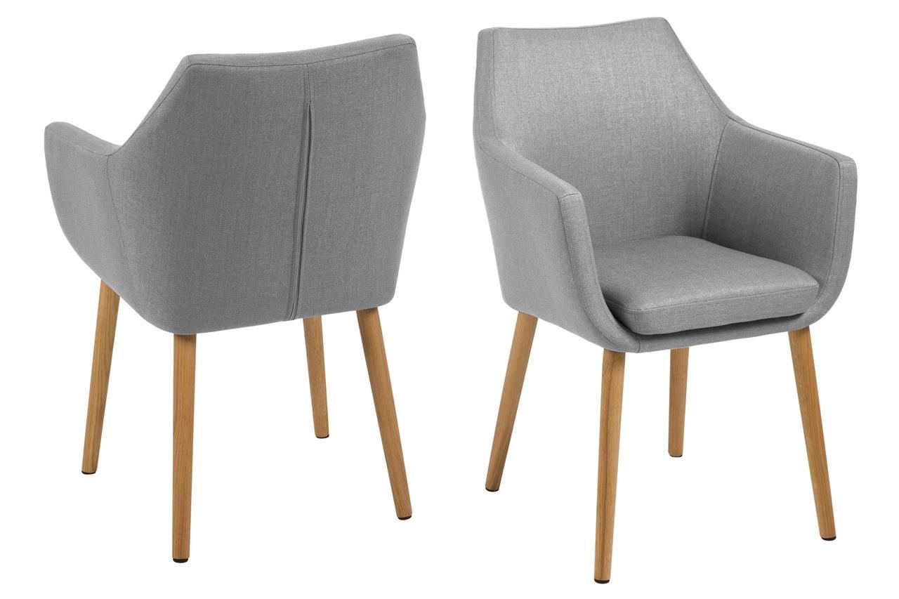 6 x Polsterstuhl Grau mit Holzbeinen Eiche Ölbehandelt Esszimmerstuhl mit Armlehnen Sessel Designstuhl Skandinavisch Hellgrau