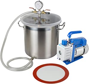 Carejoy 5 Gallon Stainless Steel Vacuum Degassing Chamber Silicone Kit with Pump Hose