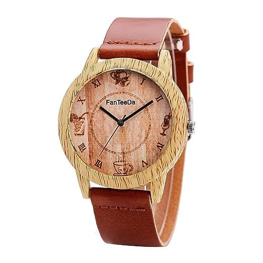 Reloj Vintage de Madera para Mujer Reloj de Lujo Marca Casual Relojes de Pulsera de Cuarzo Simples para Mujeres Relojes de Pulsera de Cuero Suave - Café ...