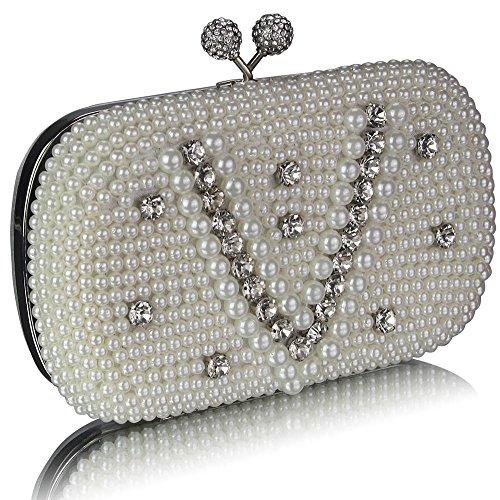 TrendStar - Bolso de mano para mujer, diseño con cuentas de cristal BB - Ivory