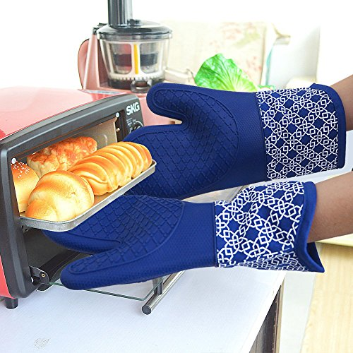 Heat Resistant Kitchen Oven Mitts 500 Degrees With Non-Slip Silicone Set of 2 Oven Gloves for BBQ Cooking set Baking Grilling Barbecue Microwave Machine Washable Women and Man (blue, Full - Tiffany White Cat