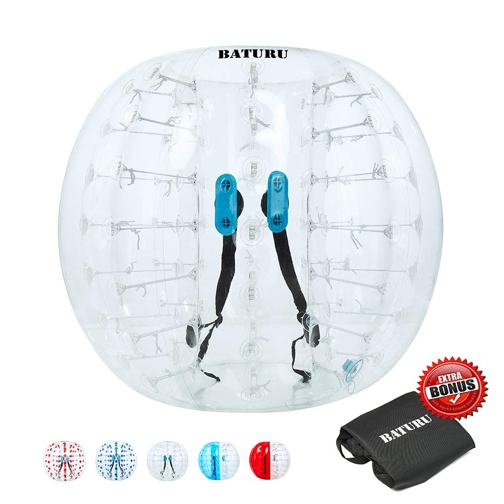 Inflatable Bumper Balls for Adults/Kids, Human Hamster Ball 5 ft /4 ft, Bumper Bubble Soccer Ball W/Ultra Thick PVC (Upgraded Transparent, 5 FT)