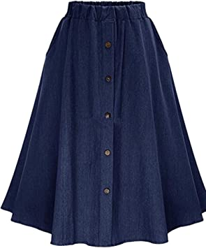 Mujer Midi Falda De Mezclilla con Botones Faldas Vaqueras Plisada ...
