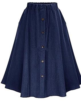 15345283a Mujer Midi Falda De Mezclilla con Botones Faldas Vaqueras Plisada ...