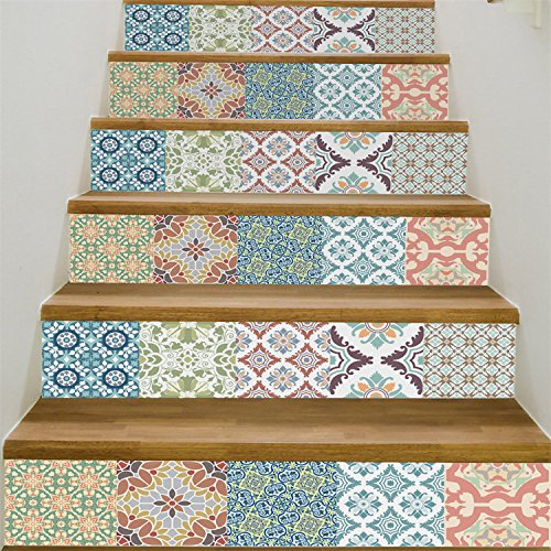 VancyTop Mediterranean Style Ceramic Tile Pattern Stair Stickers Self-adhesive DIY Removable Wall Decals 18100cm6pcs/set
