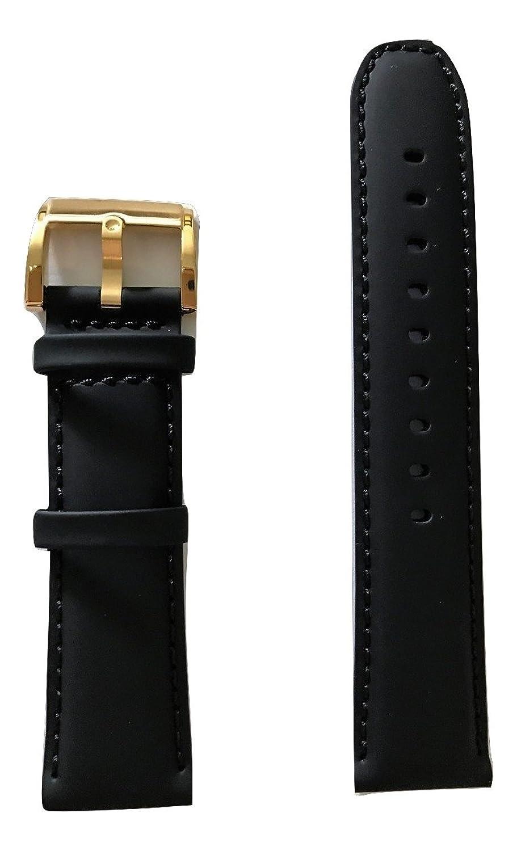 22 mm Movado太字ブラックレザー時計バンドストラップ[ 22 mmバンド幅]  B072P3LGJW