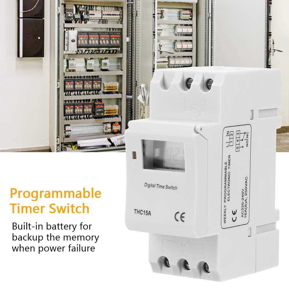 THC15A Interrupteur /à Minuterie Programmable 220-240VAC 16A Num/érique LCD Programmateur Horaire Electrique Hebdomadaire /à Affichage Num/érique pourRail DIN 16A