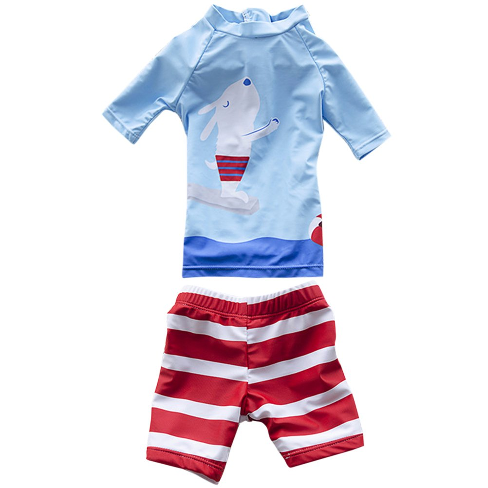 Zhuhaitf Kids Boys Two Piece Round-Neck Rash Guard UV Sun Protection Swimsuit