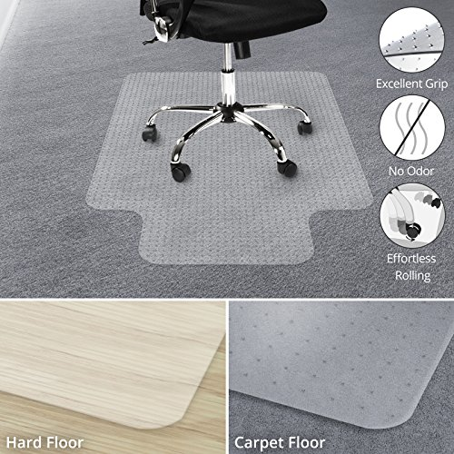 Office Marshal Chair Mat with Lip for Carpet Floors, Low/Medium Pile - 30'' x 48'', Multiple Sizes - 100% Pure Polycarbonate, No-Recycling Material - Transparent, High Impact Strength by Office Marshal