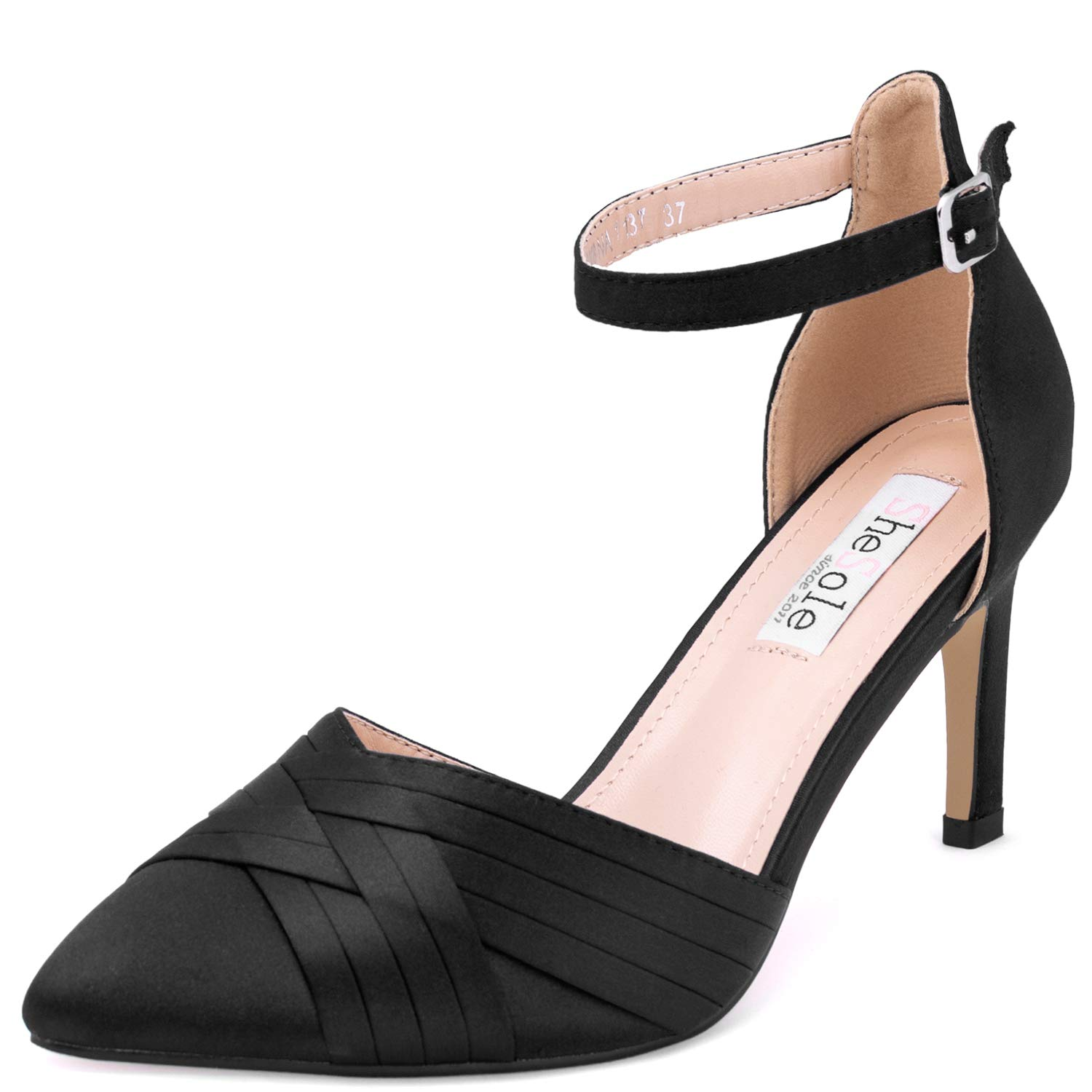 f174feb36b9 SheSole Women's Pointed Toe High Heels Ankle Strap Satin Dress Pumps Shoes