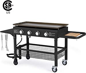 U-MAX 4-Burner Portable Propane Gas Grill 2 in 1 with steel gas griddle flat top & 741sq. Inch BBQ Grill Plate Pan, CSA Approved Outdoor Folding Barbecue Cooking Station for Home, Camping, Party