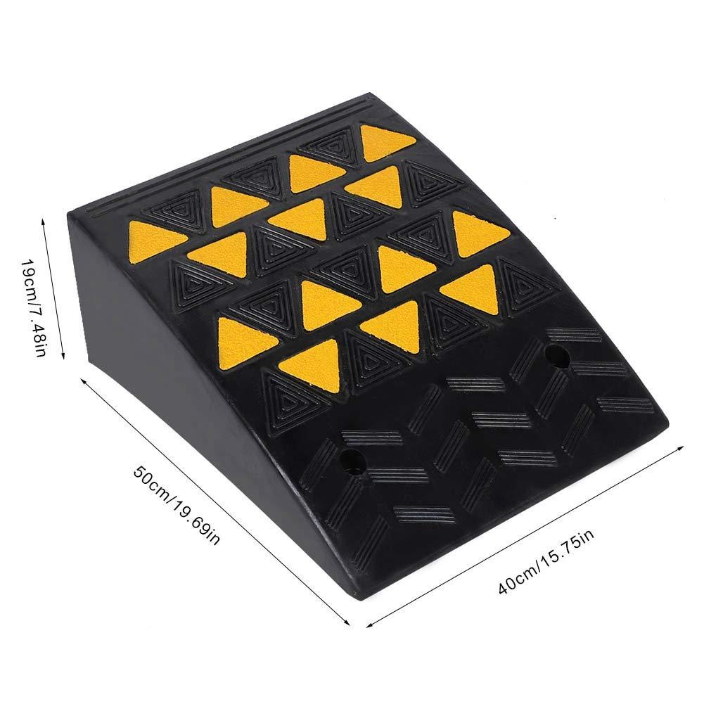 tr/ès r/ésistante voiture Rampe de seuil en caoutchouc avec film r/éfl/échissant jaune pour all/ée 40 /× 50 /× 19 cm fauteuil roulant en caoutchouc portable