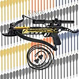 Crossbow Self-Cocking 80 LBS by KingsArchery® with Hunting Scope, Spare Crossbow String and Caps, 3 Aluminium Arrow Bolts, and Bonus 120-pack of Colored PVC Arrow Bolts + KingsArchery® Warranty