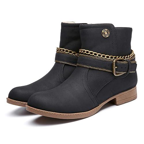 Botas de Invierno para Mujer,Camfosy Botas de Nieve de Tacón Plano con Piel Zapatos