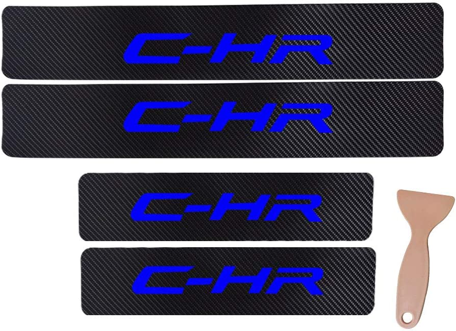 JEYODA Car Door Sill Car Threshold Pedal Sticker for C-HR Decoration Carbon Fibre Vinyl Sticker Car Accessories Car-Styling red