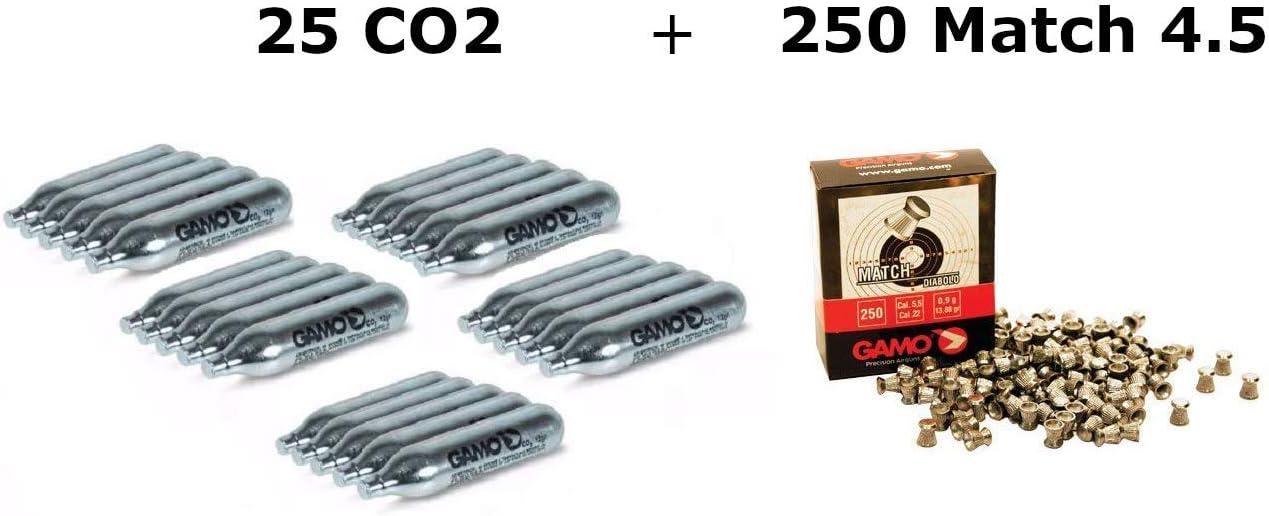 DataPrice Pack 25 bombonas CO2 12gr. Gamo + 250 Balines Gamo Match 4,5 mm. para Pistolas y Carabinas