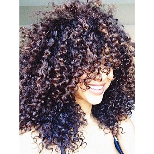 Curly Hair Wigs For Black Women,Natural Hair Wigs For Black Women,Curly Wig, Kinky Curly Afro Wigs Human Hair Lace Front Synthetic Wigs With Neat Bangs 20'' 300g(Brown) (1026) by Twoworld