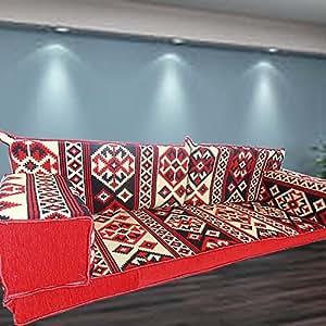 Étnico Tribal Estilo Piso sofá Set, hecho a mano muebles Majlis, árabe, Árabe Jalsa, suelo asiento sofá, cojines, Oriental, sala de estar decoración, Kilim de suelo asiento, pipa de barra muebles sofá Set, suelo sofá cama