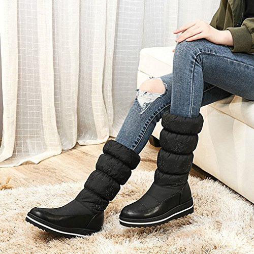 GIY Womens Winter Mid Calf Tall Waterproof Rian Snow Boots Fur Lined Fashion Elastic Flowers Snow Boot Black skEWAu