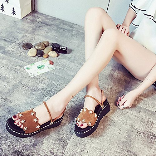 Dual Kinds Spring Muffin All Slippers XKNSLX Women's of Summer New Summer Fashion Shoes Thick Use Style Slippers and Sole Khaki Rivets Casual Bottom wPvHx8w