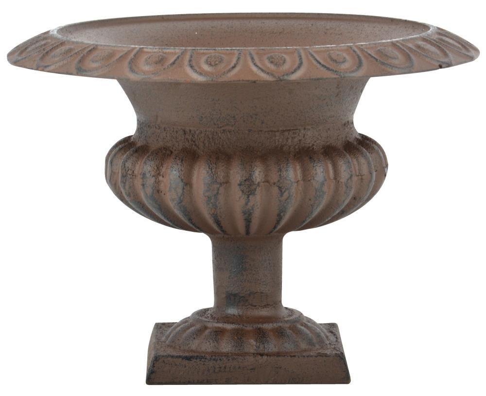 Esschert Design Französische Vase, 28 x 27 x 25 cm, aus Gusseisen, niedrig, Größe M, Blumenvase, Pflanzenvase, Stabiler Stand, Gartendekoration