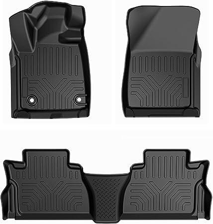 Truck Floor Mats for Toyota Tundra 4pc Set All Weather Rubber Semi Custom Black