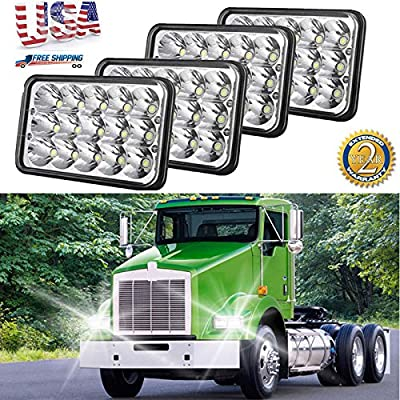 4x6 LED Headlights Sealed Beam for Kenworth T400 W900B T800 W900L Classic FREIGHTLINER, H4651 H4652 H4656 H4666 H6545 Rectangular Headlamps, Pack of 4, US Stock 2 Year Warranty