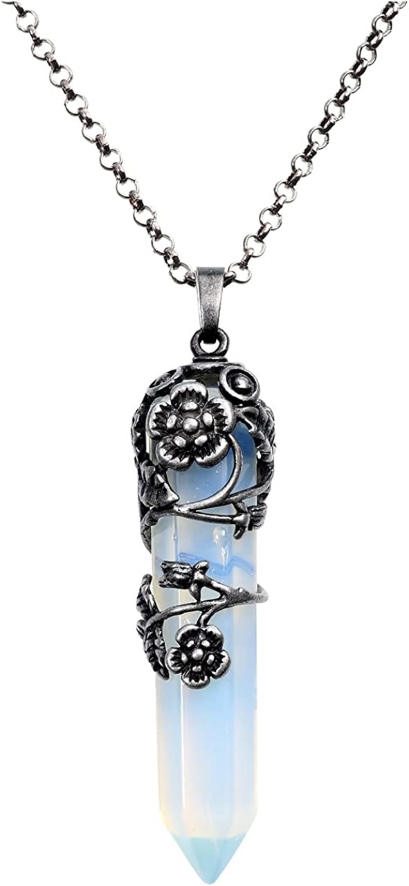 JSDDE - Collar con colgante de piedra de cristal curativo natural envuelto en flor de plata de estilo retro