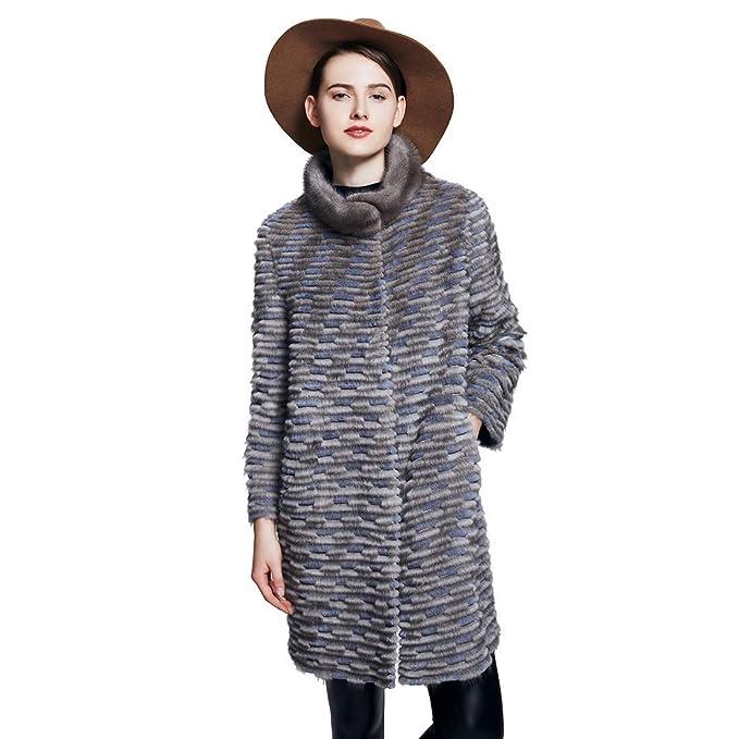 URSFUR Chaqueta de piel de invierno para mujer Chaqueta de piel de conejo real Rex Chaqueta grueso de piel invierno: Amazon.es: Ropa y accesorios