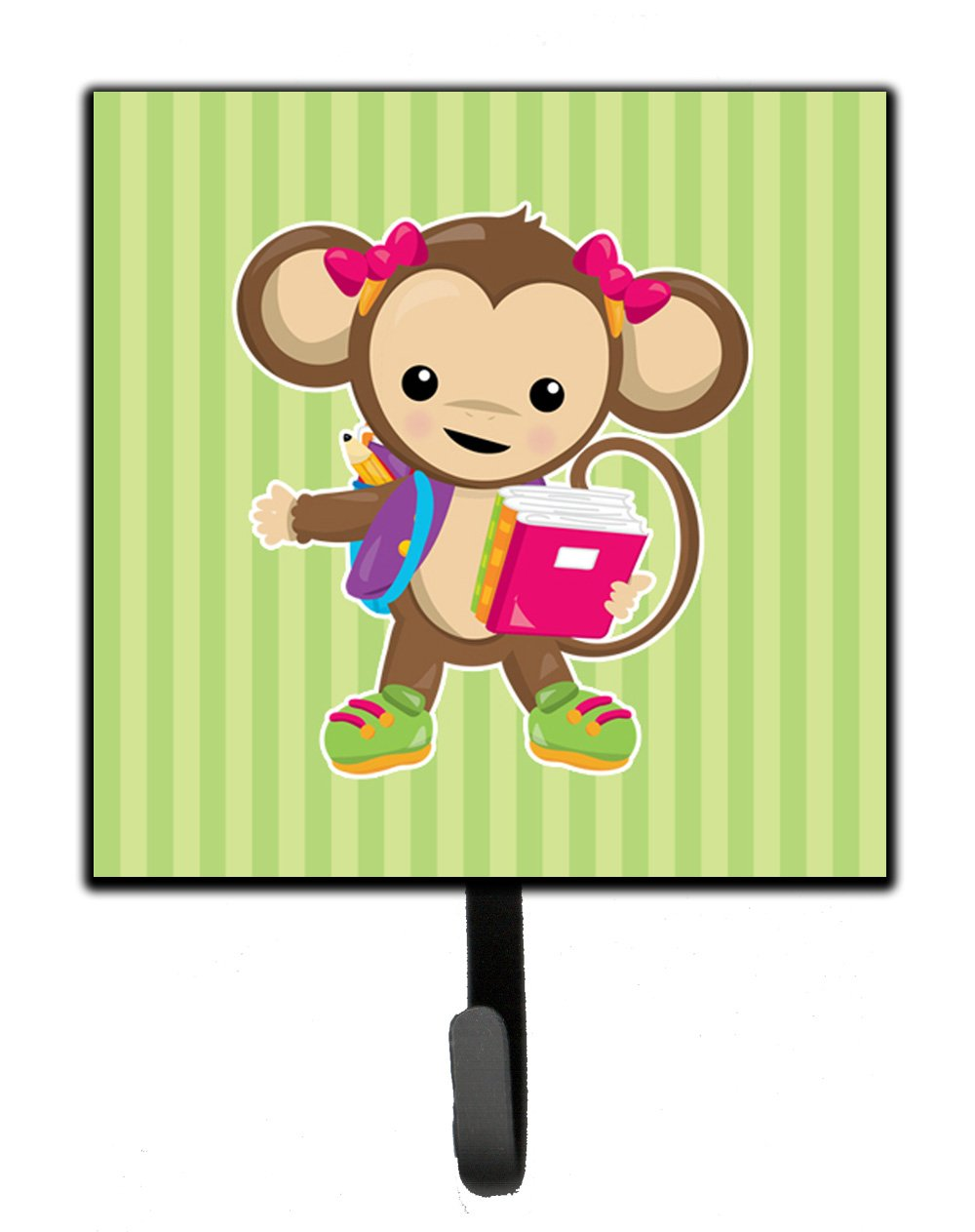 Caroline's Treasures Monkey Going to School Wall Hook, Small, Multicolor