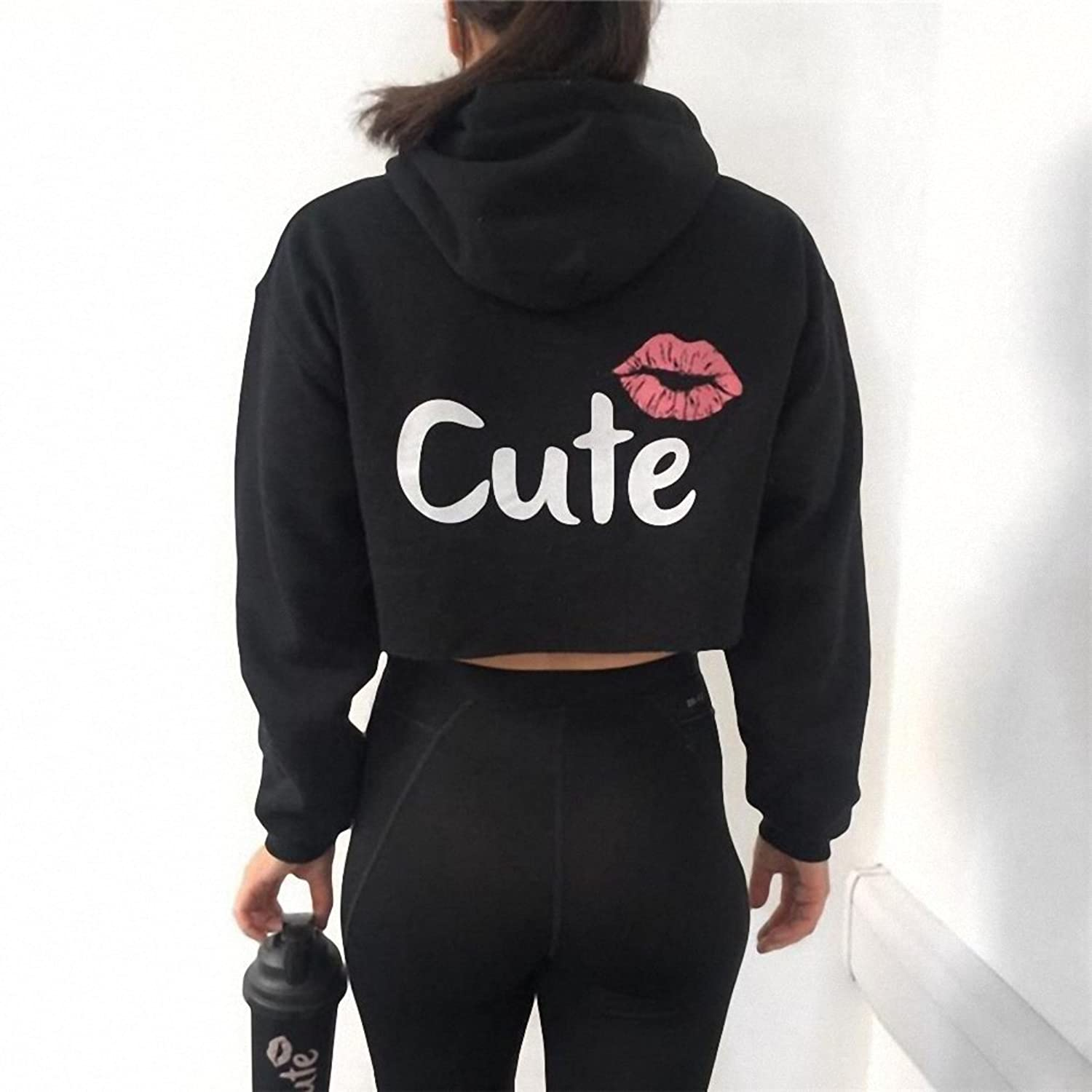 Autumn Casual Pullover Women Hoodies Long Sleeve Harajuku Print Letters Cute Sweatshirts Women Short Tops WS2279E at Amazon Womens Clothing store: