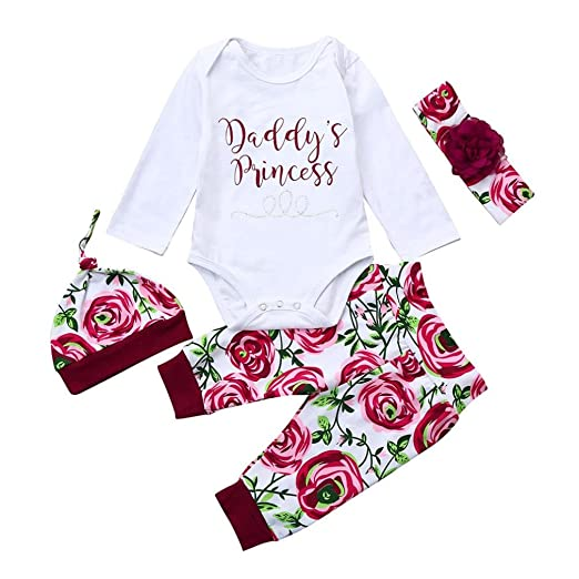 8d9929ca153 Amazon.com  Winsummer Newborn Infant Baby Girl Cotton Letter Romper Tops+Floral  Pants Hat Headband Outfits Clothes Set  Clothing