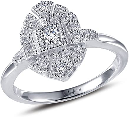 Lafonn Classic Sterling Silver Platinum Plated Lassire Simulated Diamond Ring 0.39 CTTW