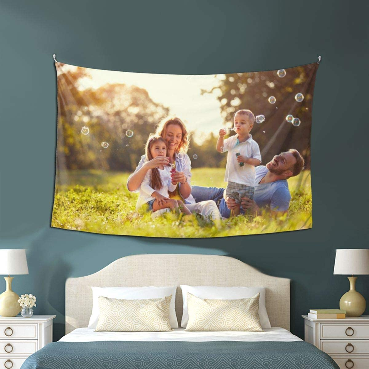 Personalized Image wall Tapestry Customize Your Own Picture and Print Text, Custom Tapestry for Pets and Family, Suitable for Decor Living Room and Bedroom Birthday Wedding Gift 60 WX90 L