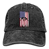 WE9SAW Wrestling American Flag Men Women Cotton Denim Jeanet Trucker Hat Adjustable Jeans Baseball Hat
