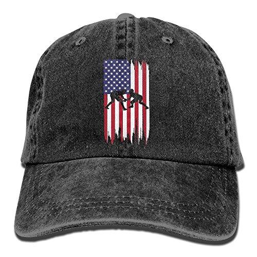 WE9SAW Wrestling American Flag Men Women Cotton Denim Jeanet Trucker Hat Adjustable Jeans Baseball Hat by WE9SAW