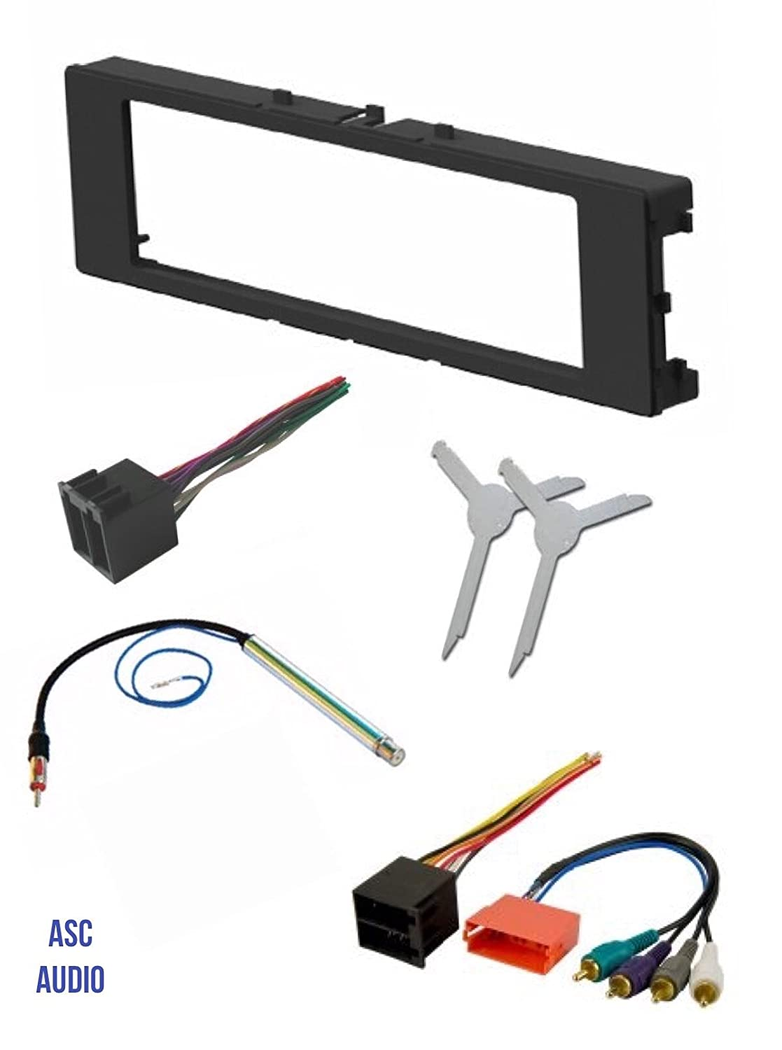 asc car stereo install dash kit, wire harness, antenna adapter, and radio  removal tool for installing an aftermarket single din radio for 1996-1999  audi a4