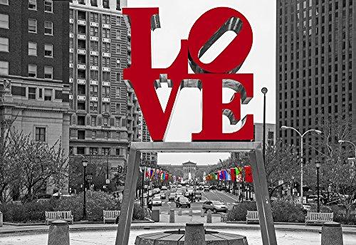 Philadelphia Love Park Black and White Canvas Art Print (12x14) (Amaze Art Gallery)