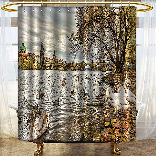 NALAHOMEQQ Apartment Decor Shower Curtain Set by Prague Charles Bridge and Old Town Czech Republic Riverside Scenic View with Swans Bathroom Accessories Gold Grey(72