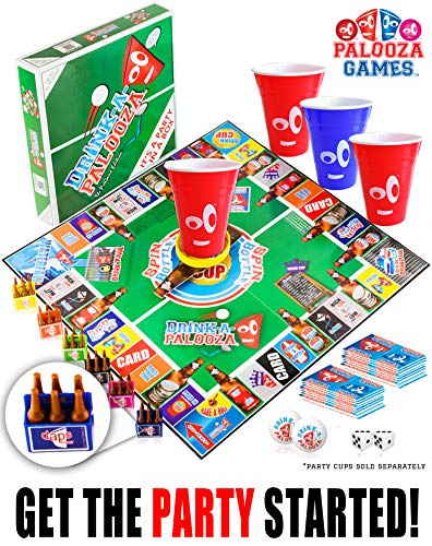 DRINK-A-PALOOZA Board Game: Combines Old-School + New School Drinking Games & Adult Games with Beer Pong, flip Cup, Kings Cup Card Game & The Best Adult Party - Adult Boards Games