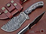 Christmas Gift Offer By ColdLand | Retail More Than 200$ Custom Handmade Damascus Steel Tracker Hunting Knife (handle scales are bit shrunk due to winter) Z28 For Sale