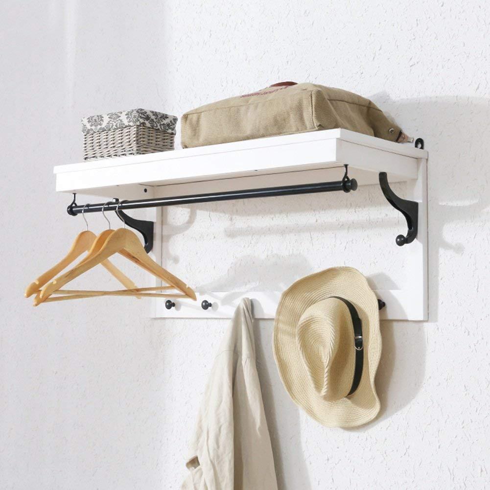 YCT 壁掛けコートラック帽子無垢材棚8フック寝室のリビングルームColors4X36.5X33cm (Color : 白) B07R8HL6K1 白