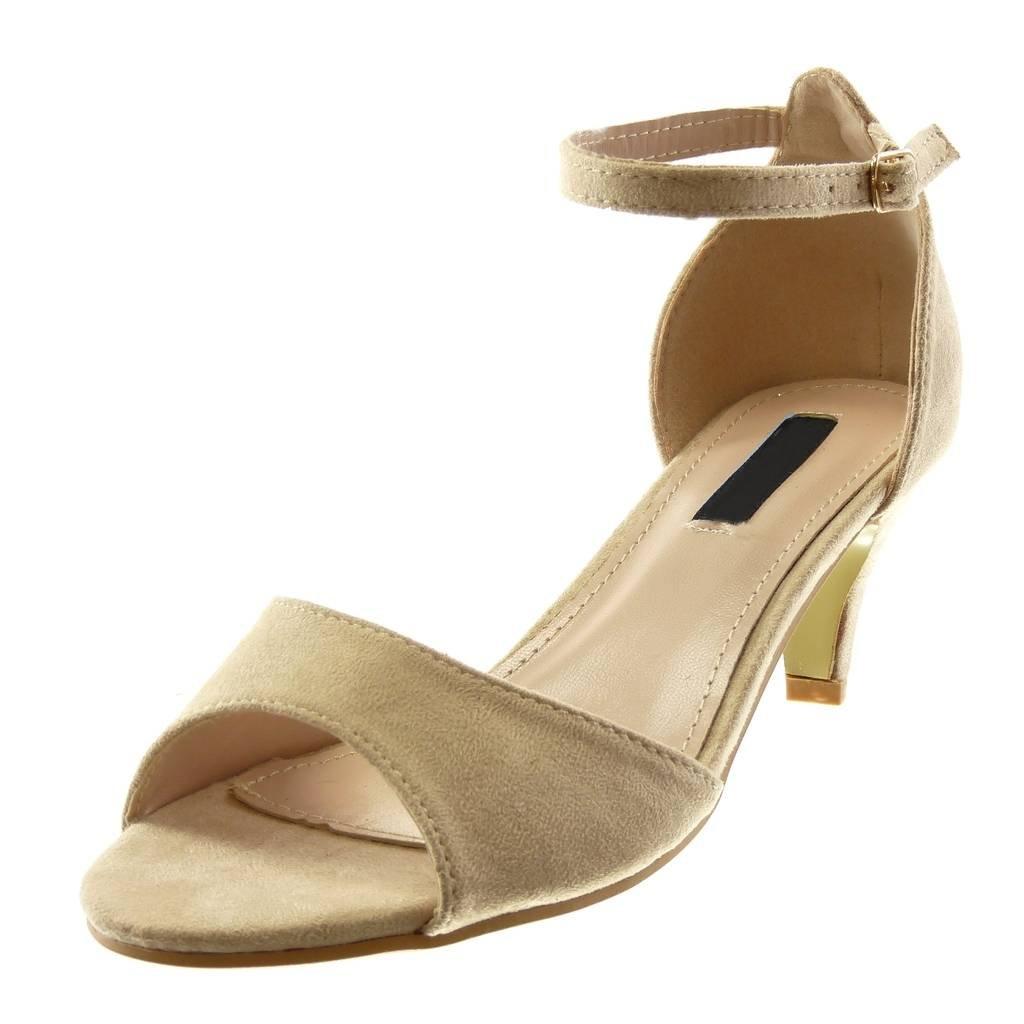 Angkorly - Damen Schuhe Sandalen Pumpe - knöchelriemen - Schick - String Tanga Trichterabsatz High Heel 6.5 cm Beige