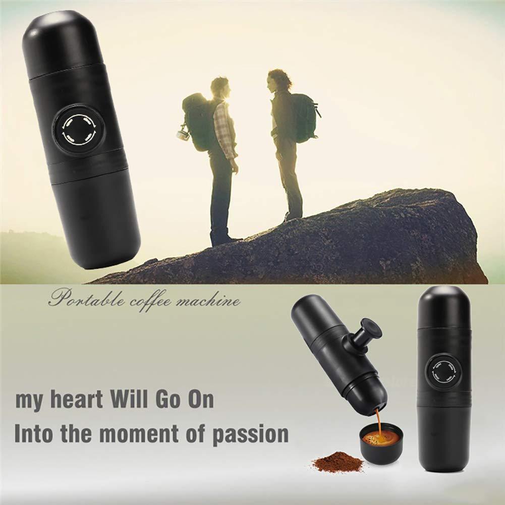 Hand grinder,longdelaY6 Manual Coffee Maker Hand Operated Espresso Machine Pot Portable Outdoor Travel - Black