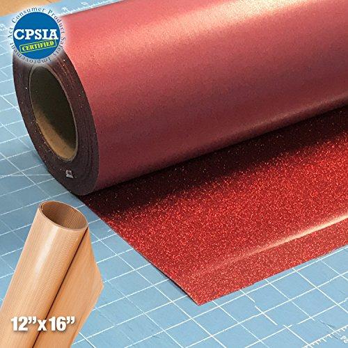 Siser Glitter Red Easyweed Heat Transfer Craft Vinyl Roll (100ft x 10'' Bulk w/ Teflon roll) by Siser