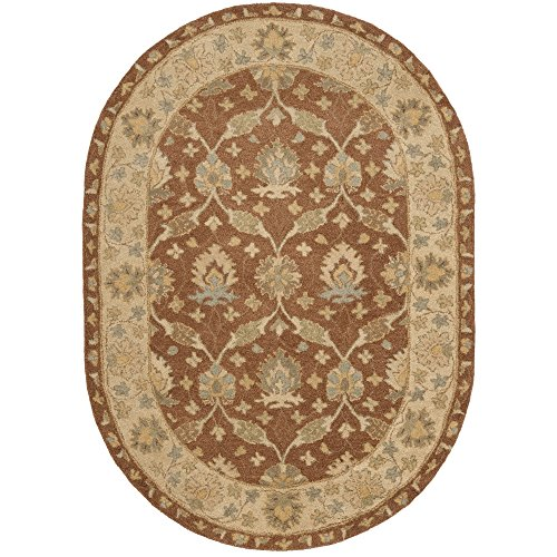 (Safavieh Antiquities Collection AT315A Handmade Traditional Oriental Brown and Taupe Wool Oval Area Rug (4'6
