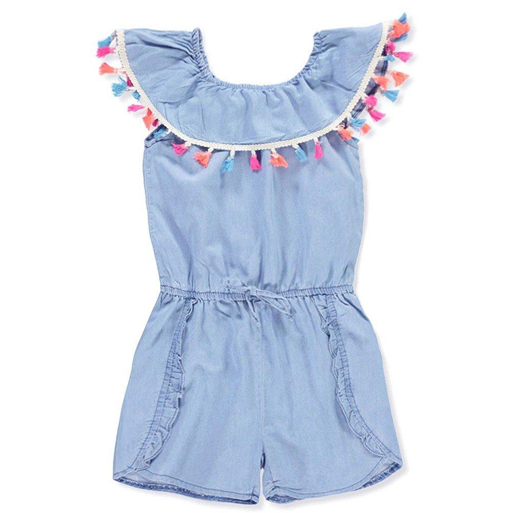 dollhouse Big Girls Blue Denim Tassel Trim Overlay Tie Accented Romper 7-8