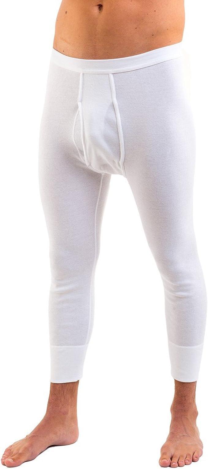 Unterwäsche Herren Lange Unterhose Weiß mit Eingriff Größe 6,7,8