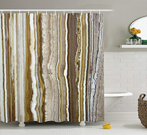 SPXUBZ Apartment Onyx Marble Rock Themed Vertical Lines Blurry Stripes in Earth Color Mustard Brown Shower Curtain Waterproof Bathroom Decor Polyester Fabric Curtain Sets Hooks