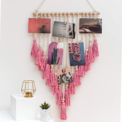 Amazon Com Icosamro Wall Photo Display Macrame Wall Hanging Boho Bohemian Decor Art Picture Hanger For Home Living Room Dorm Pink 25 Wood Clips Home Kitchen